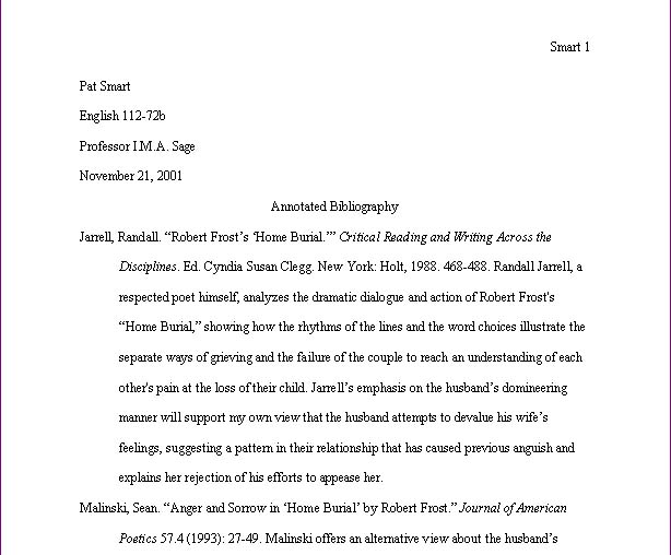 The Following Example Illustrates Annotated Bibliography Entry